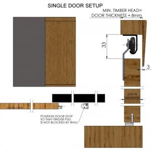 Single 60 Cupboard Door Gear