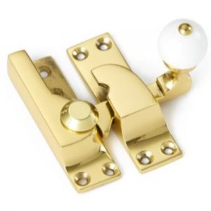 Croft Large Straight Arm Sash Fastener - White Knob