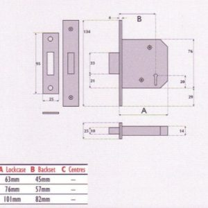 3 Lever Mortice Deadlock - G3004