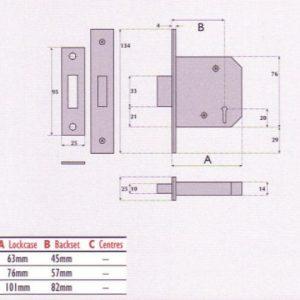 3 Lever Mortice Deadlock - G3005