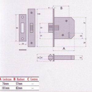 3 Lever Mortice Sliding Door Lock - G3006