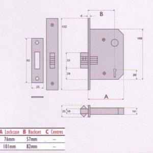 3 Lever Mortice Sliding Door Lock - SC3006