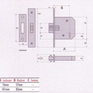 Master Keyed 3 Lever Mortice Sliding Door Lock - MK/SC3006