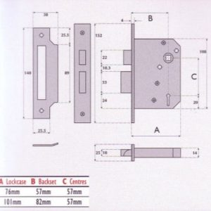 3 Lever Mortice Night Latch - G3010