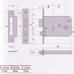 3 Lever Horizontal Mortice Lock - G3011