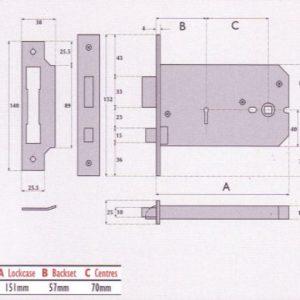3 Lever Horizontal Mortice Lock - G3012