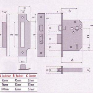 5 Lever Mortice Roller Bolt Sashlock - G5003