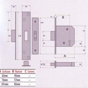 5 Lever Mortice Deadlock - G5005