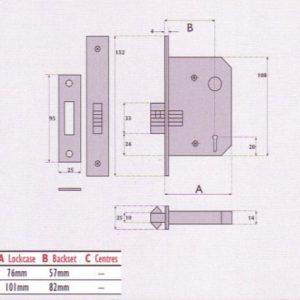5 Lever Mortice Sliding Door Lock - SC5006