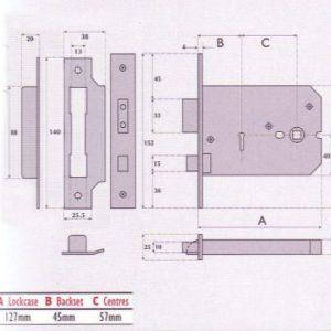 Master Keyed 5 Lever Horizontal Mortice Lock- MK5011