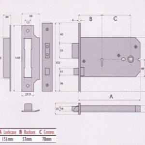 Master Keyed 5 Lever Horizontal Mortice Lock- MK5012