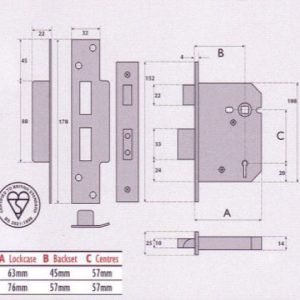 BS3621 British Standard 5 Lever Mortice Sashlock