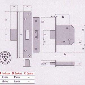 BS3621 British Standard 5 Lever Mortice Deadlock