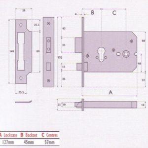 Euro-Profile Cylinder Horizontal Mortice Lock - G7011