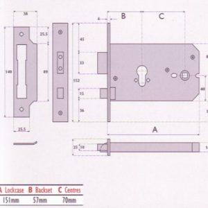 Euro-Profile Cylinder Horizontal Mortice Lock - G7012