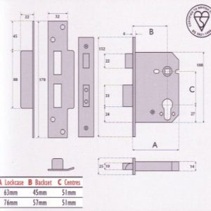 BS3621 British Standard Euro-Profile CylinderMortice Sashlock - G7030