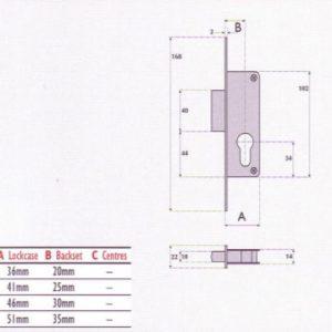 Euro-Profile Cylinder Aluminium Door Mortice Deadlock - S9054