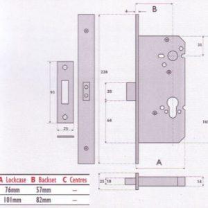Euro-Profile Cylinder Mortice Deadlock - G72-7004