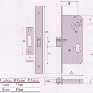 Euro-Profile Cylinder Mortice Sliding Door Lock - G72-7006