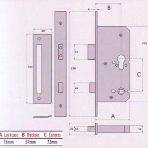 Euro-Profile Cylinder Upside Down Mortice Sashlock - G7240