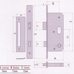 Euro-Profile Cylinder Upside Down Mortice Sashlock - G7270