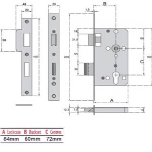 Euro-Profile Cylinder Panic Escape Mortice Sashlock - G7278N
