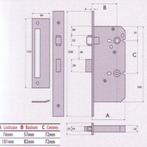 Upright Roller Bolt Bathroom Mortice Lock - G72 - 8020RB