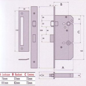 Upright Roller Bolt Bathroom Mortice Lock - G72 - 8021RB