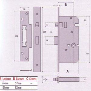 Heavy Duty Push / Pull Roller Bolt Bathroom Mortice Lock - G72 - 8072