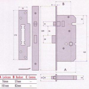 Heavy Duty Push / Pull Roller Bolt Bathroom Mortice Lock - G72 - 8872