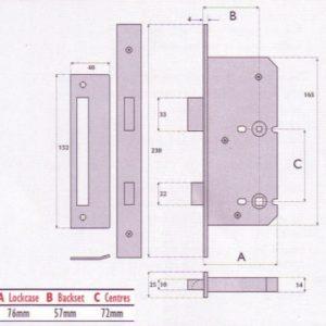 Upside Down Bathroom Mortice Lock - G8220