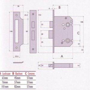 Bathroom Mortice Lock - G8020