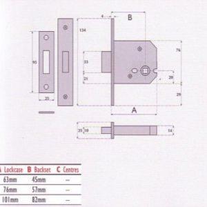 Bathroom Mortice Deadbolt - G8023