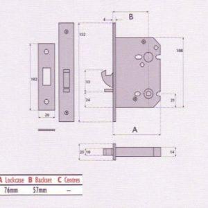 Mortice Hookbolt For Sliding Doors - G8055