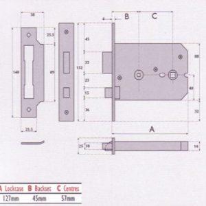 Horizontal Bathroom Mortice Lock - G8025