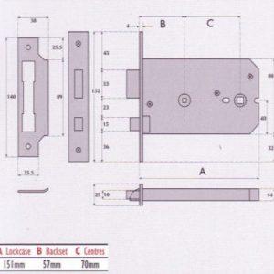 Horizontal Bathroom Mortice Lock - G8026