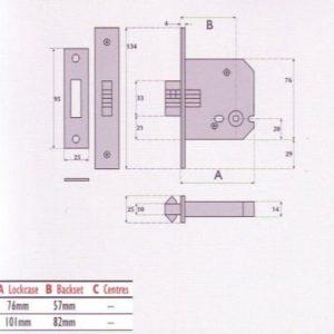 Bathroom Mortice Sliding Door Lock - G8028