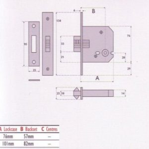 Bathroom Mortice Sliding Door Lock - G8029