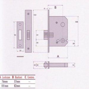 Bathroom Mortice Sliding Door Lock - SC8028