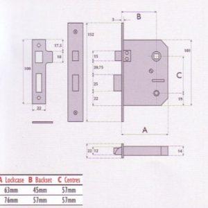 Budget Bathroom Mortice Lock - G8030
