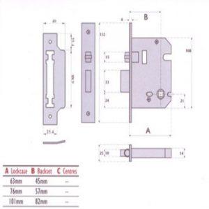 Heavy Duty Push/Pull Roller Bolt Bathroom Mortice Lock - G8072
