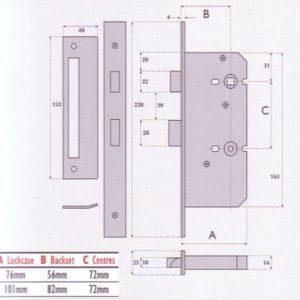 Bathroom Mortice Lock - G72-8020