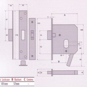 Oval Profile Cylinder Mortice Fire Escape Deadlock - G9564