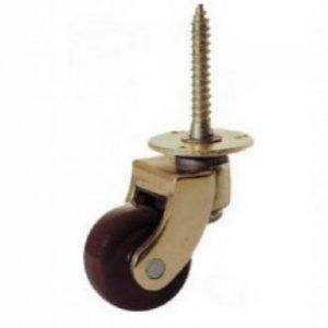 Screw Plate Furniture Castor Edwardian Brown Wheel