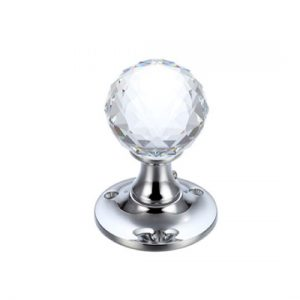 Facetted Glass Ball Mortice Knob 50mm
