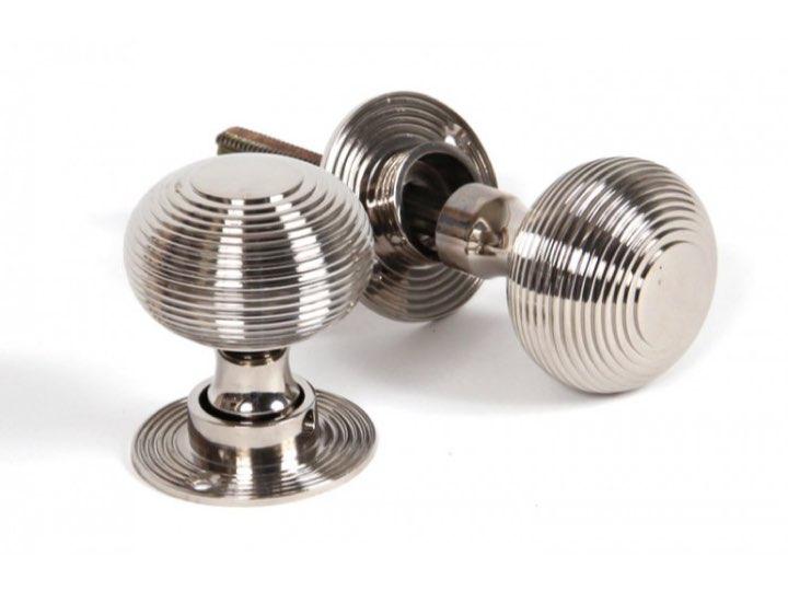 Polished Nickel Beehive Mortice/Rim Knob Set