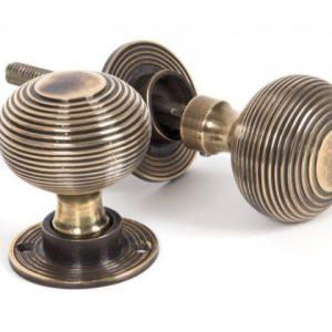 Antique Brass Beehive Mortice/Rim Knob Set