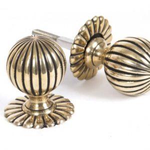 Polished Brass Flower Mortice Knob Set