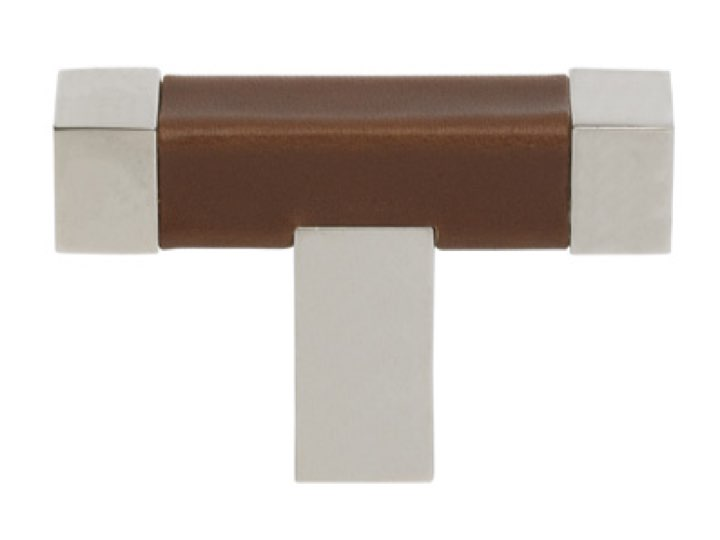 """Turnstyle """"T"""" Bar Square Recess Leather Stitch-In Cabinet Pull"""
