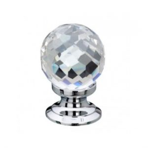 Faceted Glass Cupboard Knob 40mm